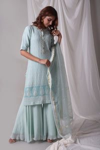 Sky Blue Georgette Suit With Palazzo And Duppatta Online in USA-full view