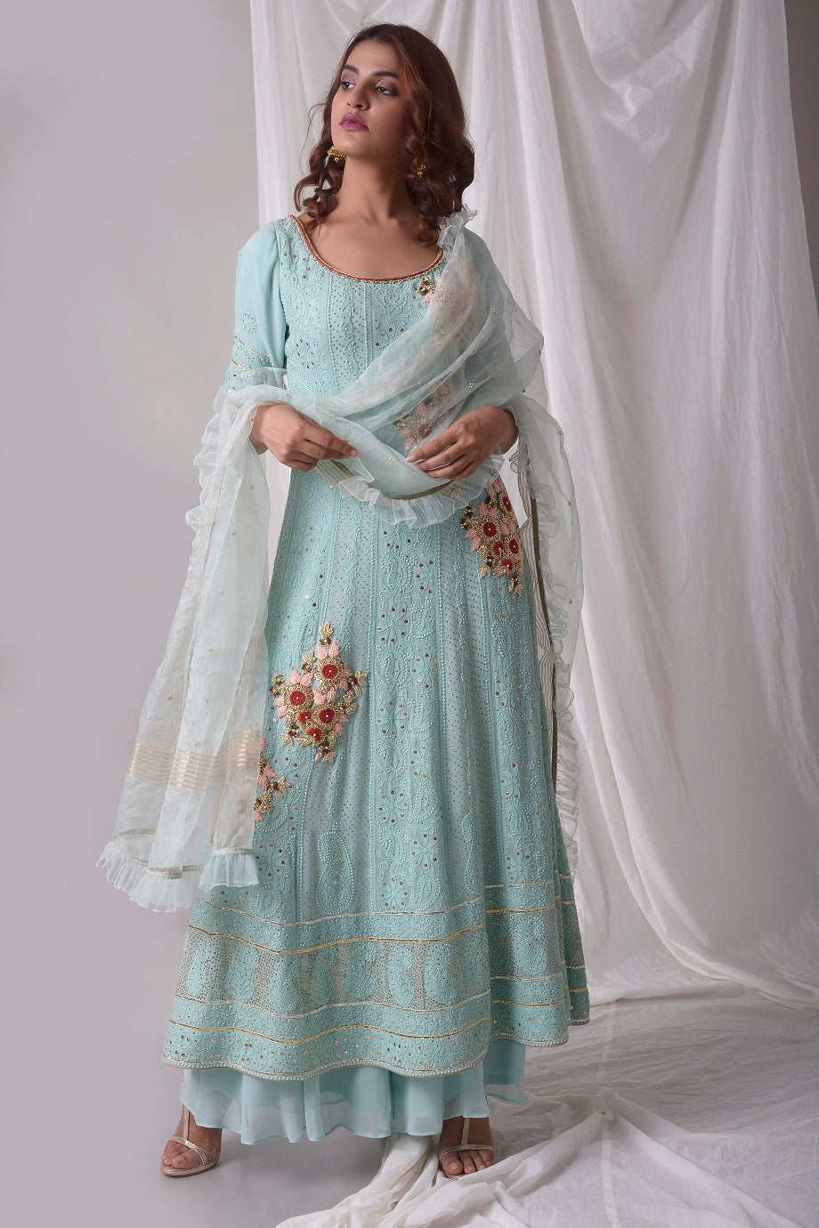 Aqua Blue Georgette Suit With Palazzo And Duppatta Online in USA-full view