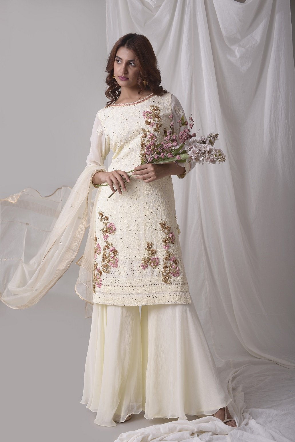 Off White Georgette Suit With Palazzo And Duppatta Online in USA-fulll view