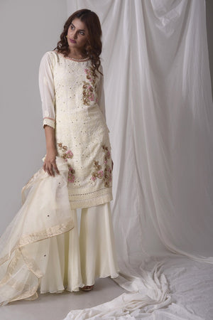 Off White Georgette Suit With Palazzo And Duppatta Online in USA-fulll view-1