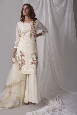 Off White Georgette Suit With Palazzo And Duppatta Online in USA-fulll view-3