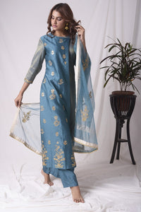 Blue Tissue Chanderi Suit With Palazzo And Duppatta Online in USA-full view