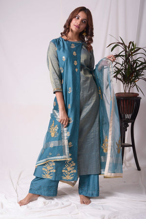 Blue Tissue Chanderi Suit With Palazzo And Duppatta Online in USA-full view-3