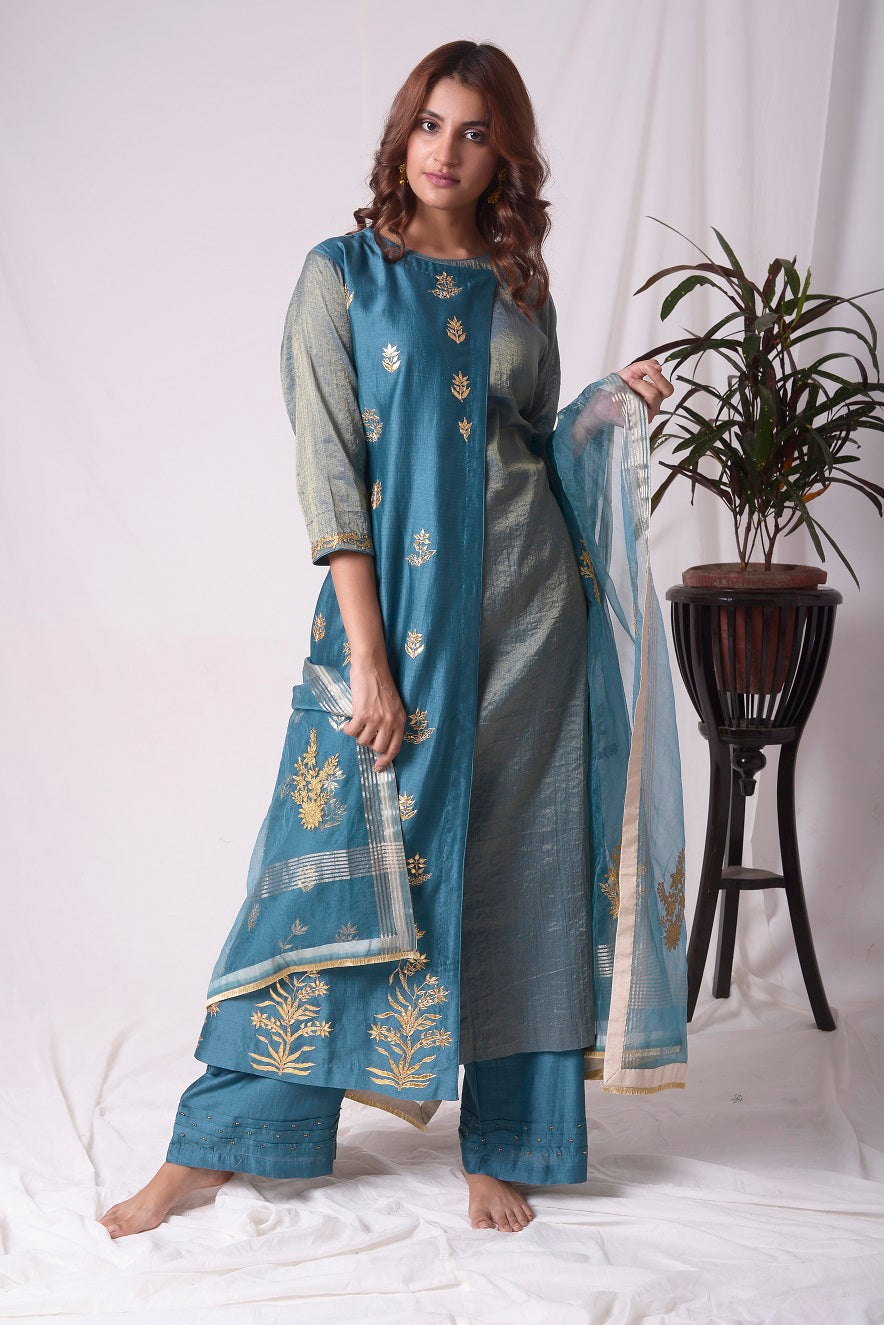 Buy blue tissue chanderi suit online in USA with palazzo and dupatta. Be the talk of parties and weddings with exquisite designer gowns, Indian suits, Anarkali dresses, Indo-western dresses from Pure Elegance Indian clothing store in USA .Shop online now.-full view-4