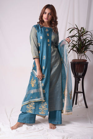 Blue Tissue Chanderi Suit With Palazzo And Duppatta Online in USA-full view-4