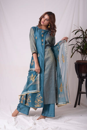 Buy blue tissue chanderi suit online in USA with palazzo and dupatta. Be the talk of parties and weddings with exquisite designer gowns, Indian suits, Anarkali dresses, Indo-western dresses from Pure Elegance Indian clothing store in USA .Shop online now.-full view-5