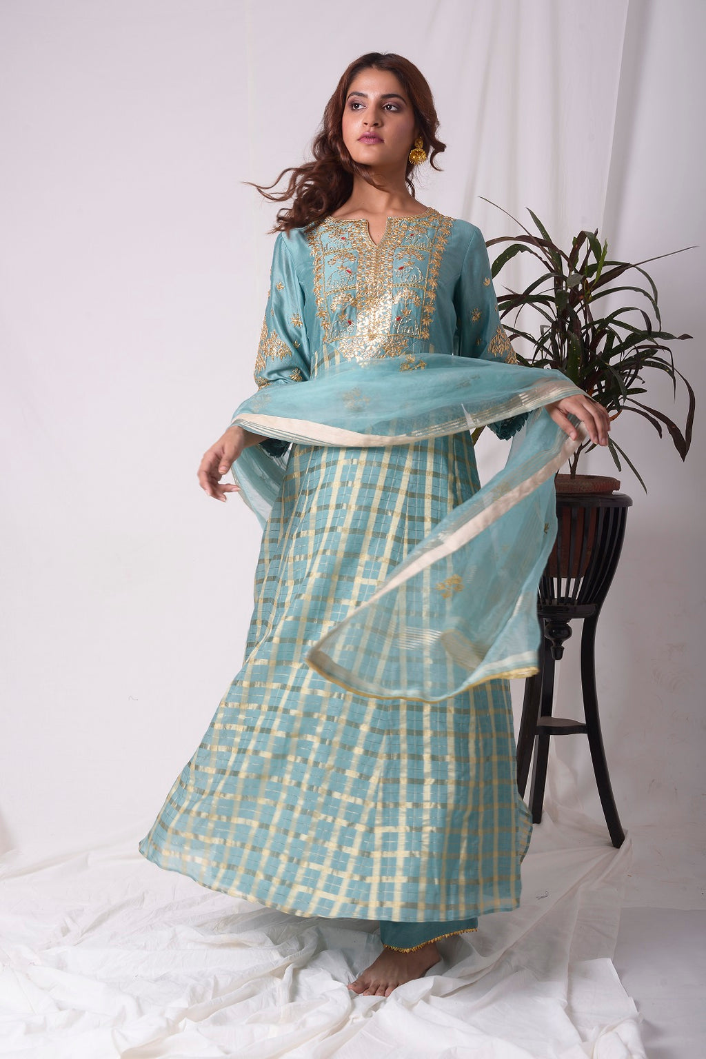 Buy blue silk suit online in USA with palazzo and dupatta. Be the talk of parties and weddings with exquisite designer gowns, Indian suits, Anarkali dresses, Indo-western dresses from Pure Elegance Indian clothing store in USA .Shop online now.-full view