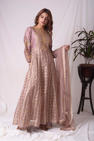 Buy brown silk suit online in USA with palazzo and dupatta. Be the talk of parties and weddings with exquisite designer gowns, Indian suits, Anarkali dresses, Indo-western dresses from Pure Elegance Indian clothing store in USA .Shop online now.-full view-4