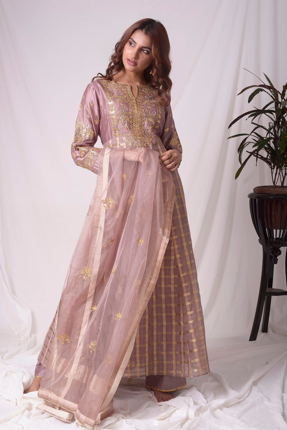 Buy brown silk suit online in USA with palazzo and dupatta. Be the talk of parties and weddings with exquisite designer gowns, Indian suits, Anarkali dresses, Indo-western dresses from Pure Elegance Indian clothing store in USA .Shop online now.-full view