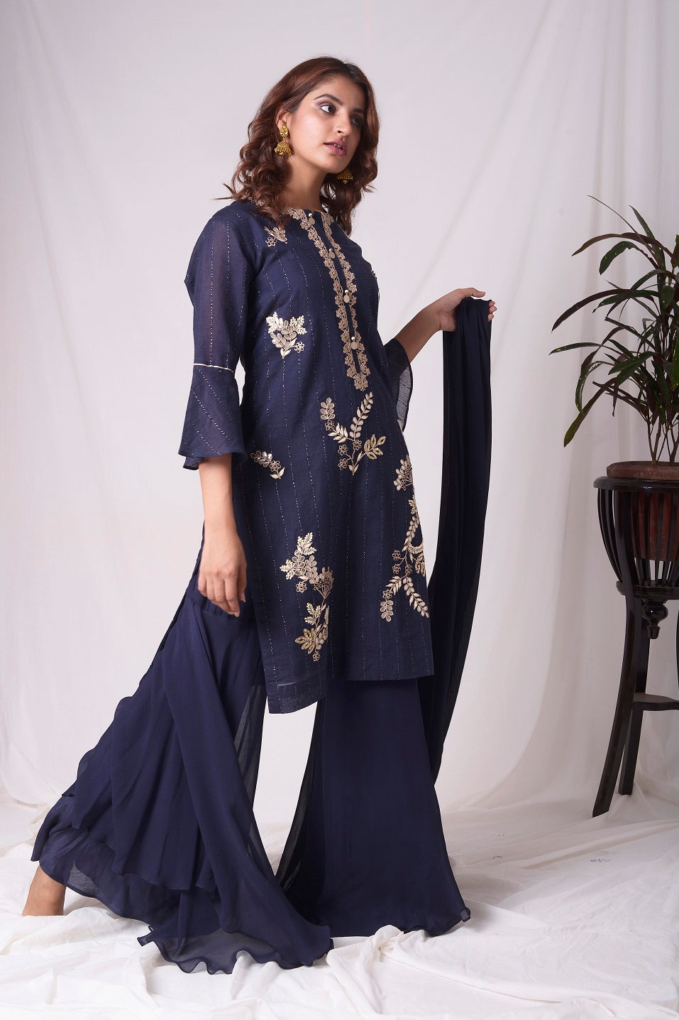 Cobalt Blue Chanderi With Gota Patti Work Suit Online in USA-full view