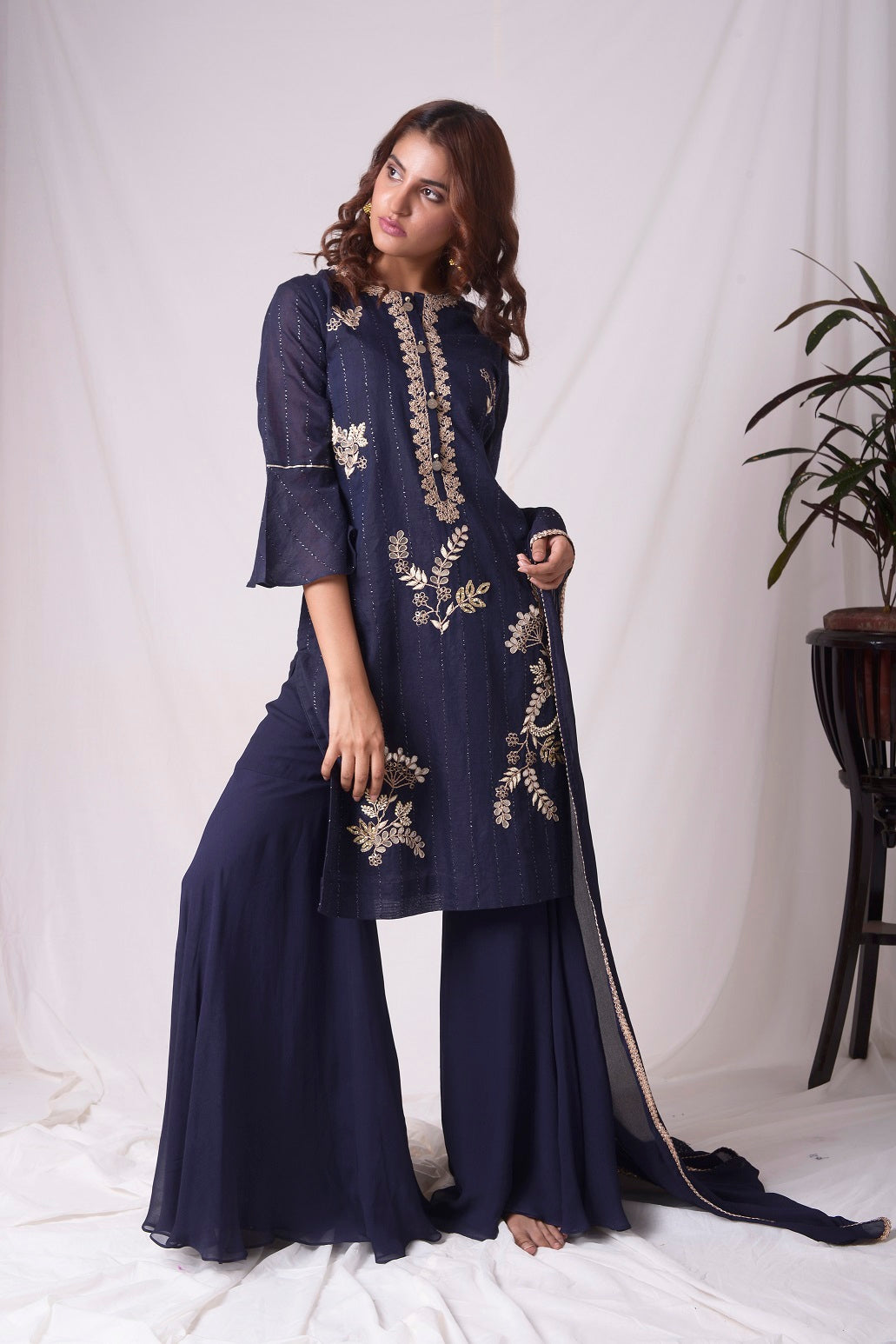 Cobalt Blue Chanderi With Gota Patti Work Suit Online in USA-full view-2