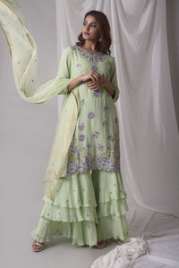 Dusty Green Georgette Suit With Palazzo And Duppatta Online in USA-full view