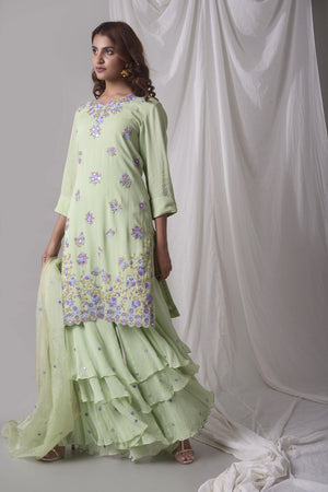 Dusty Green Georgette Suit With Palazzo And Duppatta Online in USA-side view-2