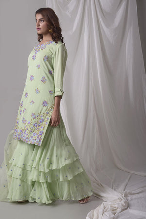 Dusty Green Georgette Suit With Palazzo And Duppatta Online in USA-side view