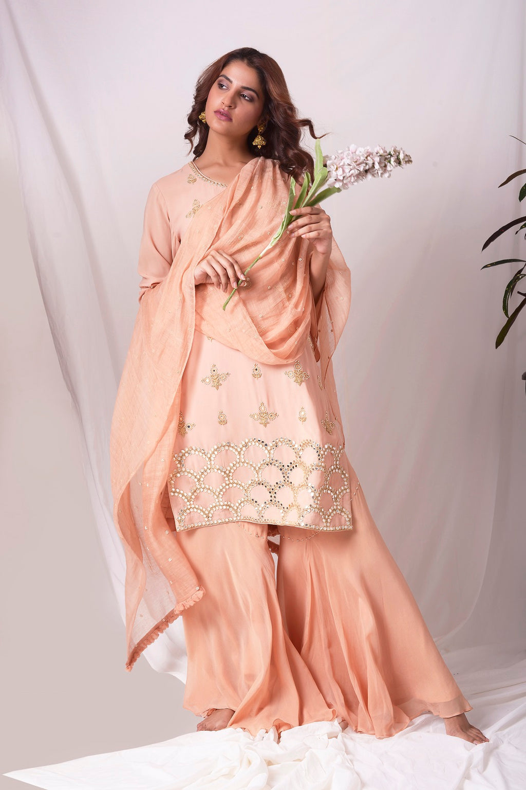 Peach Orange Georgette Suit With Palazzo And Duppatta Online in USA-full view