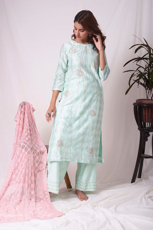 Buy aqua blue chanderi suit online in USA with patti work. Be the talk of parties and weddings with exquisite designer gowns, sharara suits, Anarkali suits, salwar suits from Pure Elegance Indian clothing store in USA. Shop online now.-full view
