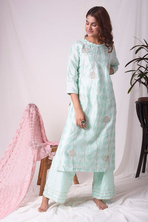 Buy aqua blue chanderi suit online in USA with patti work. Be the talk of parties and weddings with exquisite designer gowns, sharara suits, Anarkali suits, salwar suits from Pure Elegance Indian clothing store in USA. Shop online now.-full view-2