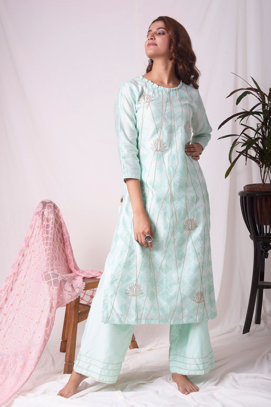 Buy aqua blue chanderi suit online in USA with patti work. Be the talk of parties and weddings with exquisite designer gowns, sharara suits, Anarkali suits, salwar suits from Pure Elegance Indian clothing store in USA. Shop online now.-full view-3