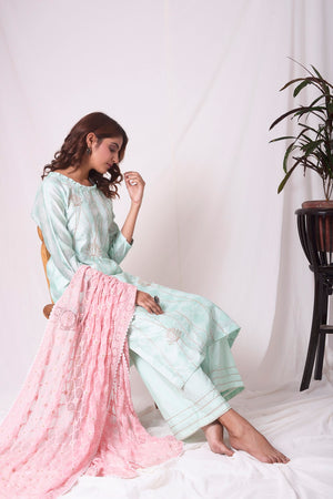Buy aqua blue chanderi suit online in USA with patti work. Be the talk of parties and weddings with exquisite designer gowns, sharara suits, Anarkali suits, salwar suits from Pure Elegance Indian clothing store in USA. Shop online now.-full view-4