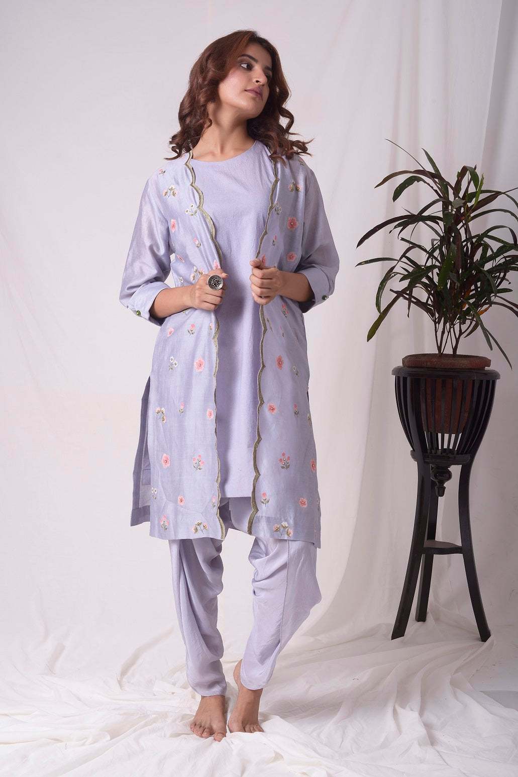 Greyish Purple Chanderi Suit With Jacket And Dhoti Online in USA-full view-4