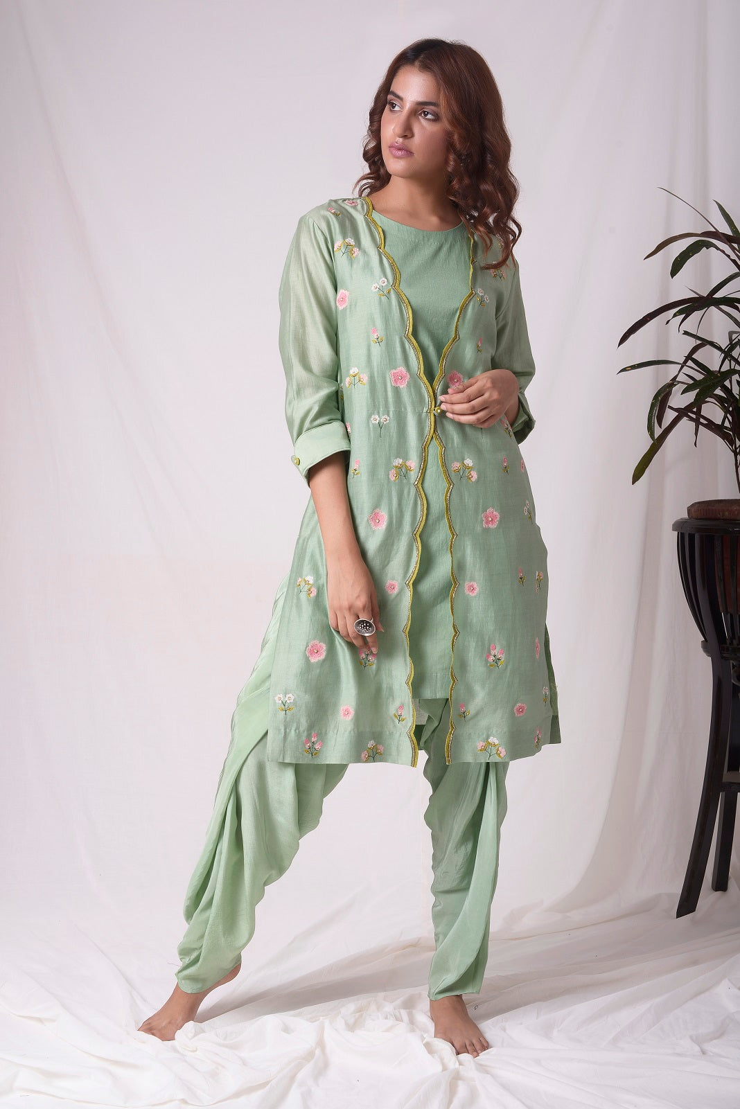 Sage Green Chanderi Suit With Jacket And Dhoti Online in USA-full view-2