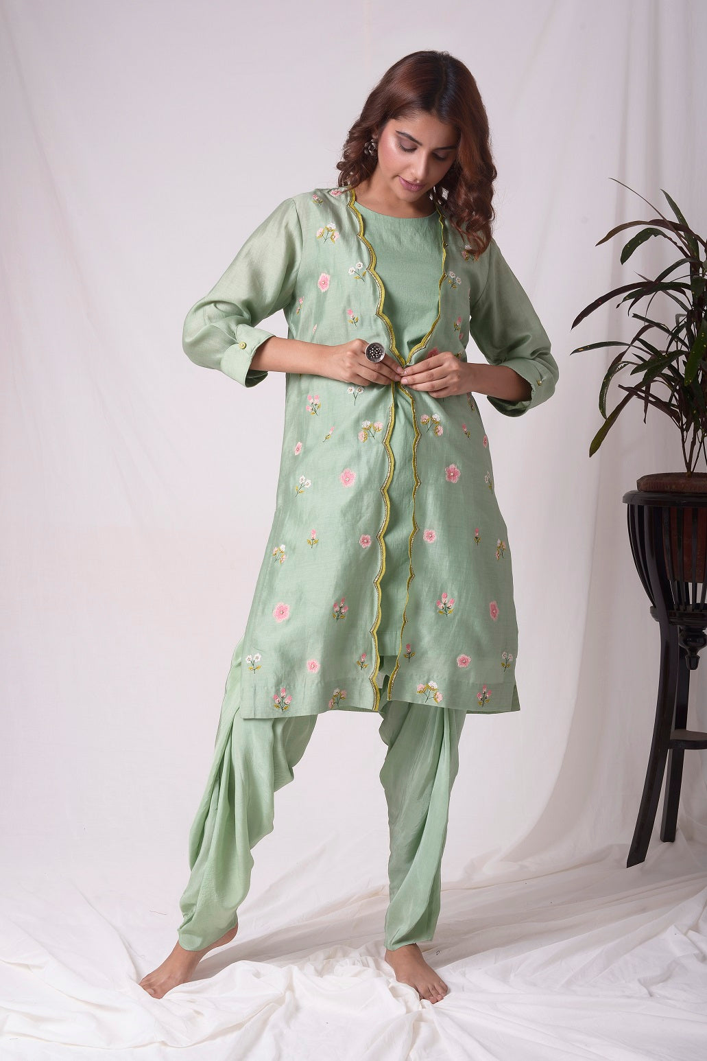 Sage Green Chanderi Suit With Jacket And Dhoti Online in USA-full view-3