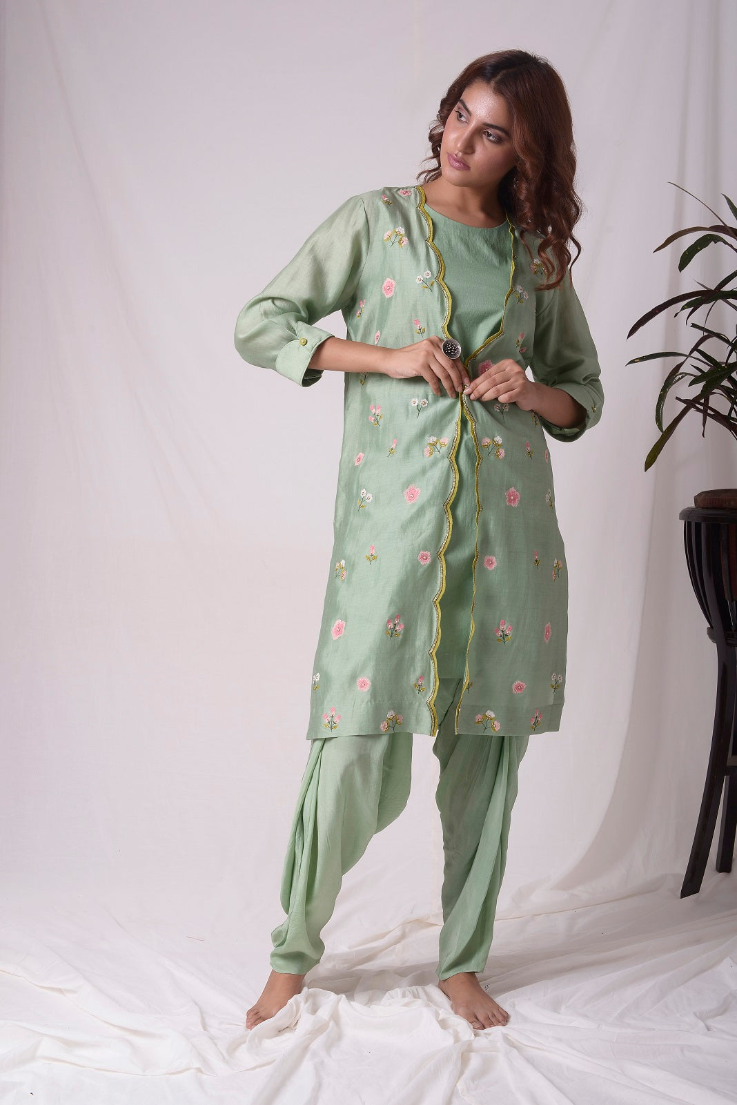 Sage Green Chanderi Suit With Jacket And Dhoti Online in USA-full view-4