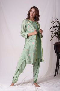 Sage Green Chanderi Suit With Jacket And Dhoti Online in USA-full view
