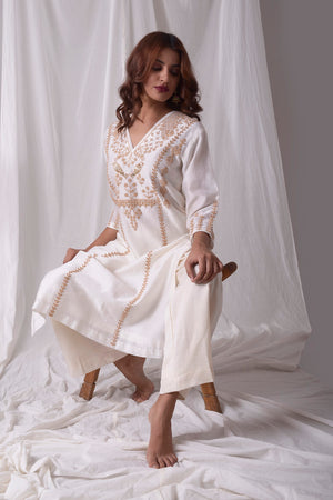 Off White Chanderi Suit With Palazzo Online in USA-side view-2