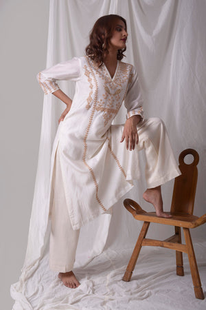 Off White Chanderi Suit With Palazzo Online in USA-side view