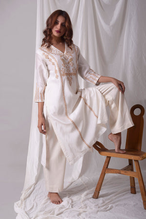 Off White Chanderi Suit With Palazzo Online in USA-full view-2