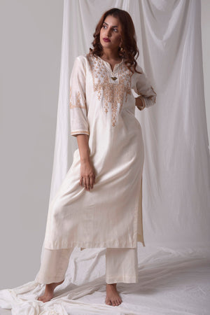Off White Chanderi Suit With Palazzo Online in USA-full view-3