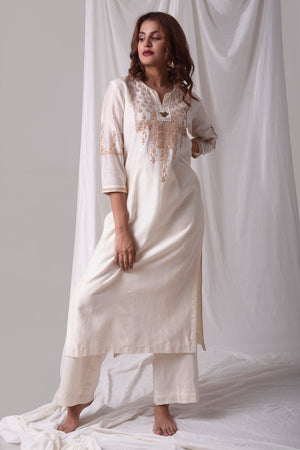 Off White Chanderi Suit With Palazzo Online in USA-full view-4