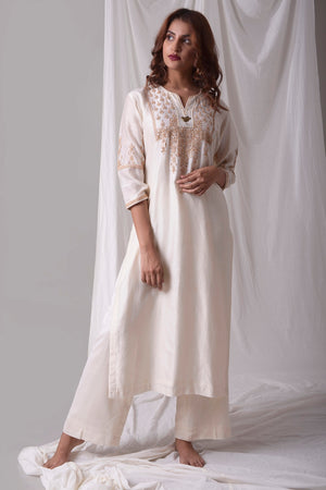 Off White Chanderi Suit With Palazzo Online in USA-full view-5