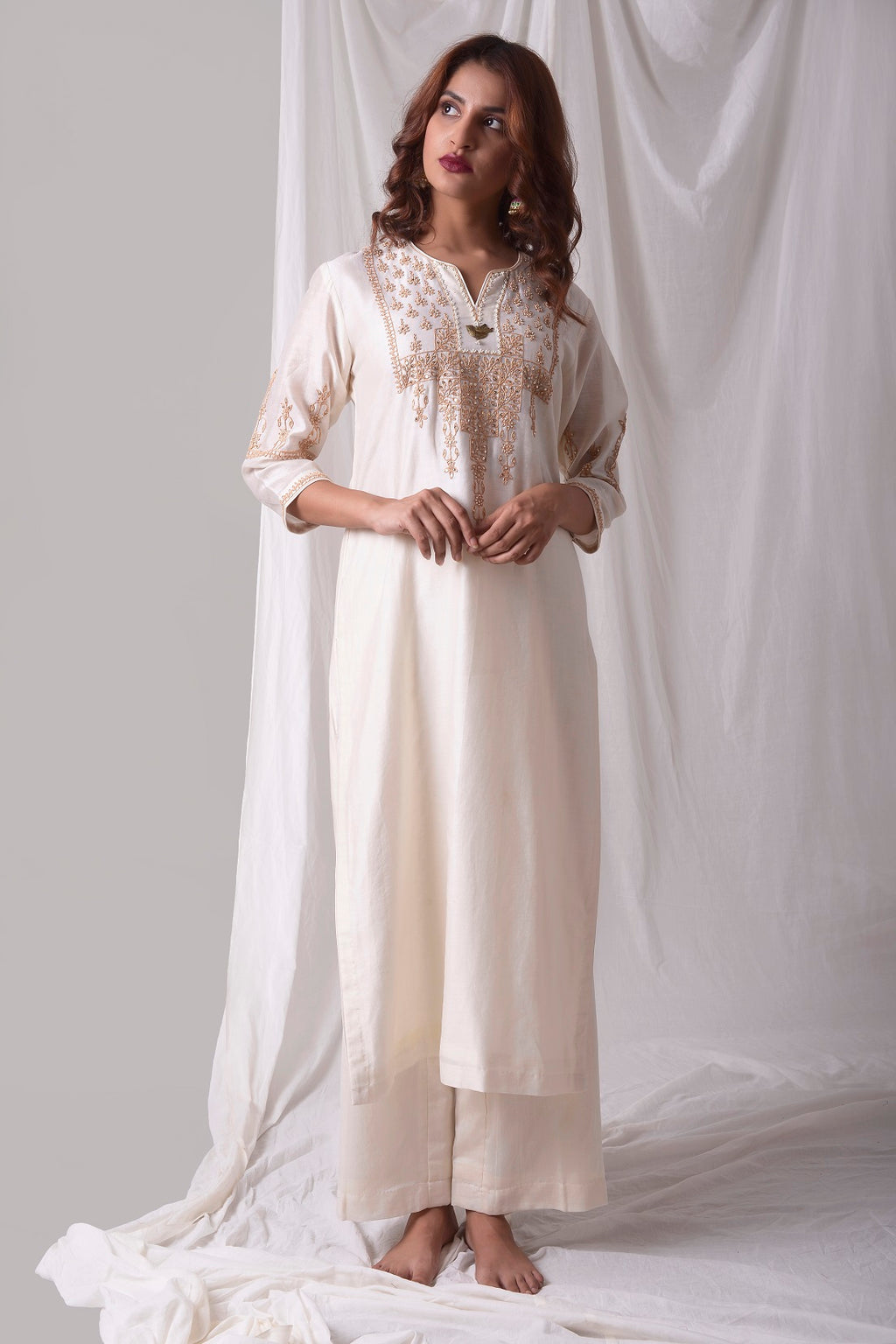 Off White Chanderi Suit With Palazzo Online in USA-full view