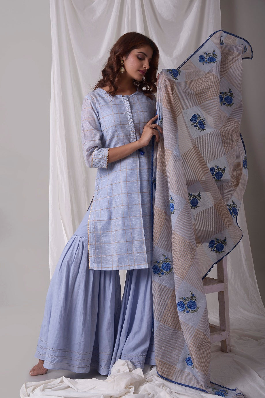 Sky Blue Cotton Linen Suit With Palazzo And Duppatta Online in USA-full view