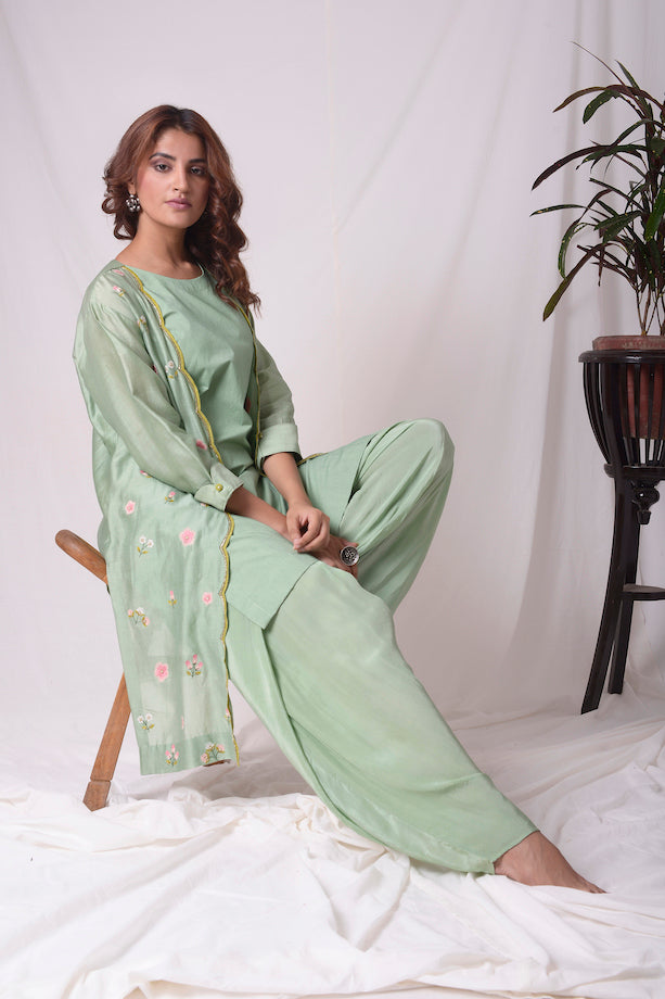 Sage Green Chanderi Suit With Dhoti Online in USA-full view
