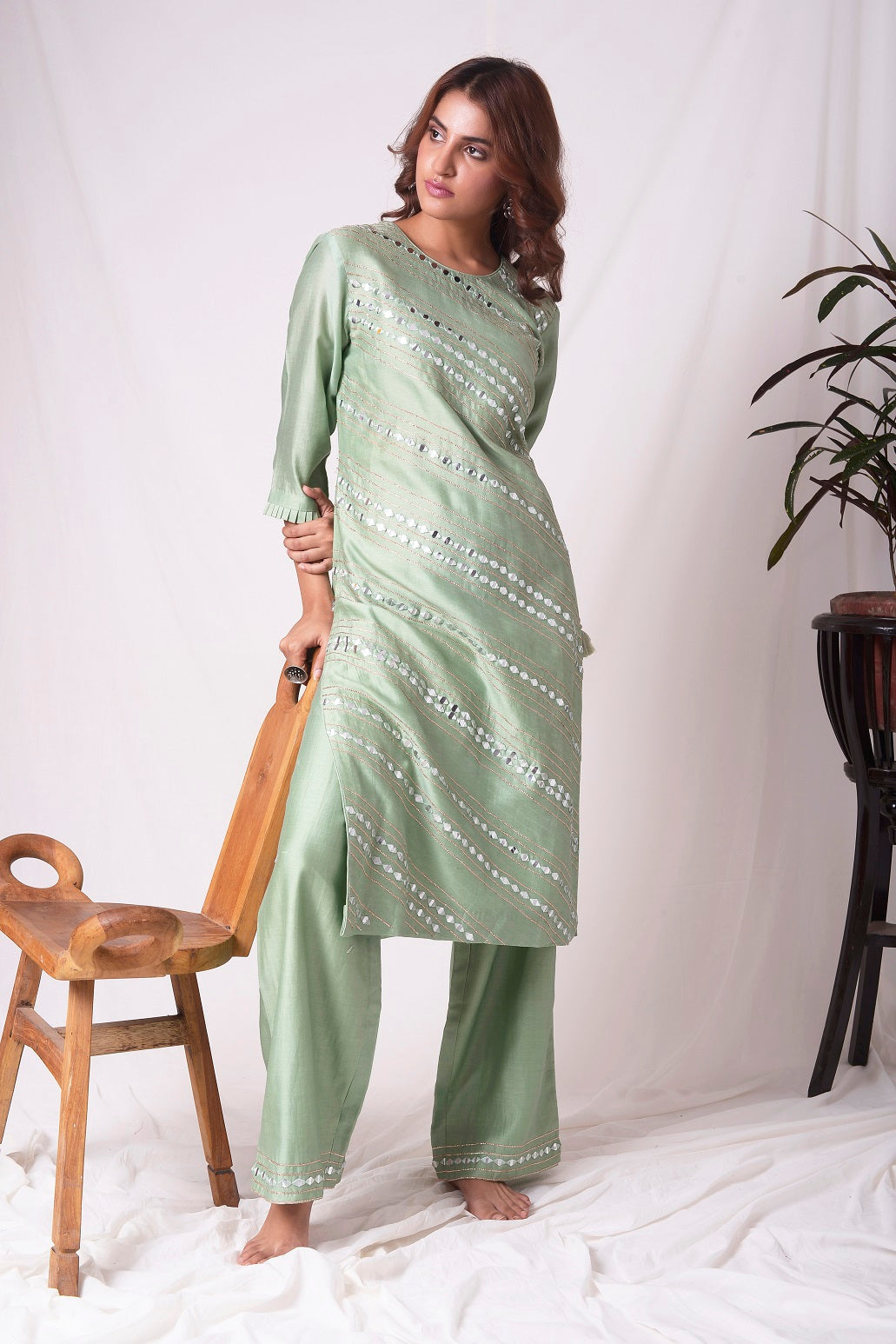 Green Chanderi With Paat Work Suit Online in USA-full view