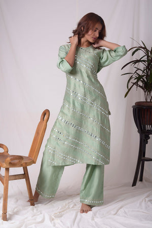 Green Chanderi With Paat Work Suit Online in USA-full view-3