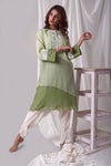 Sage Green Cotton Silk Suit With Dhoti Online in USA-full view