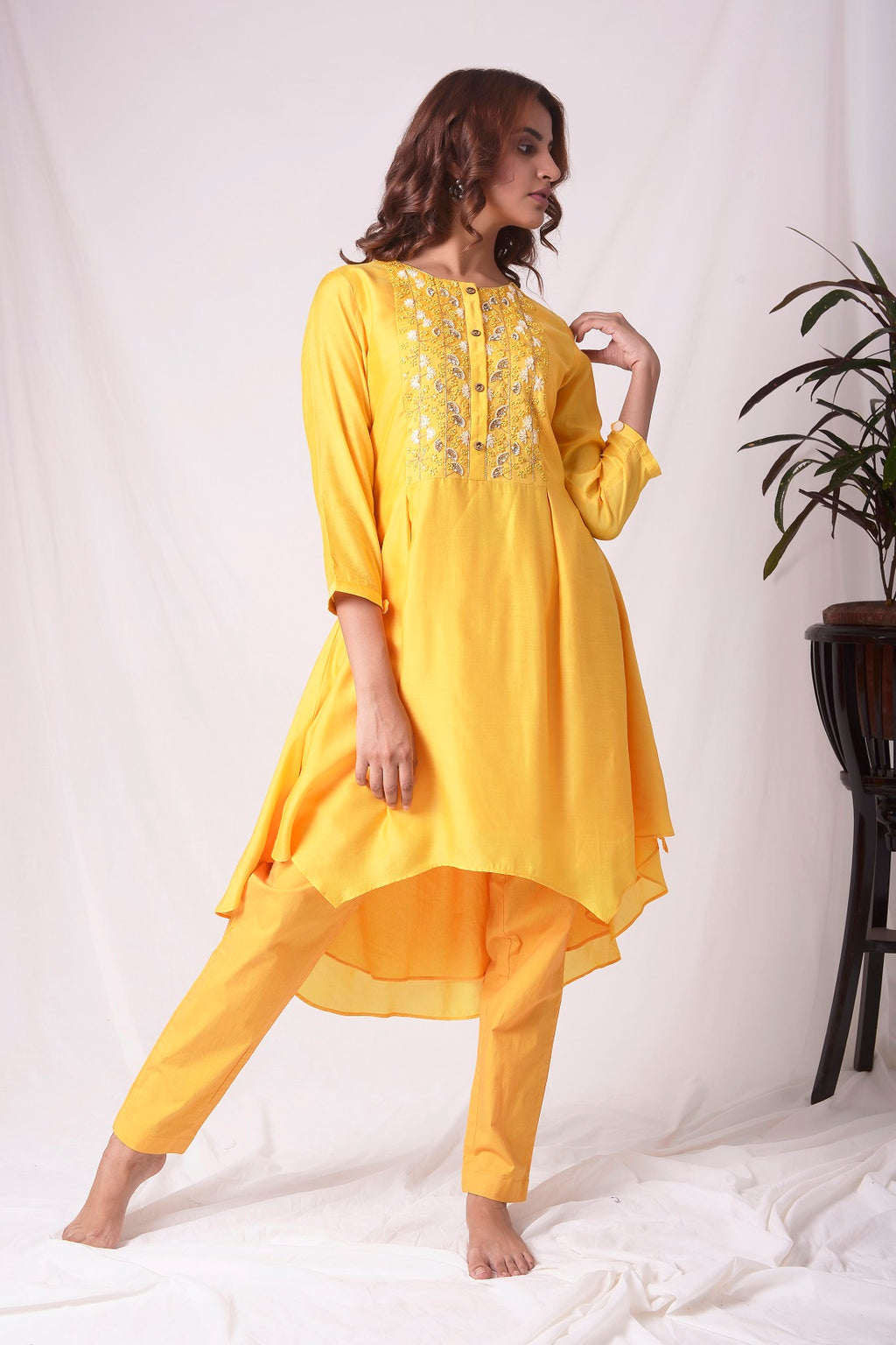 Mustard Yellow Chanderi Suit With Pleated Shirt Online in USA-full view