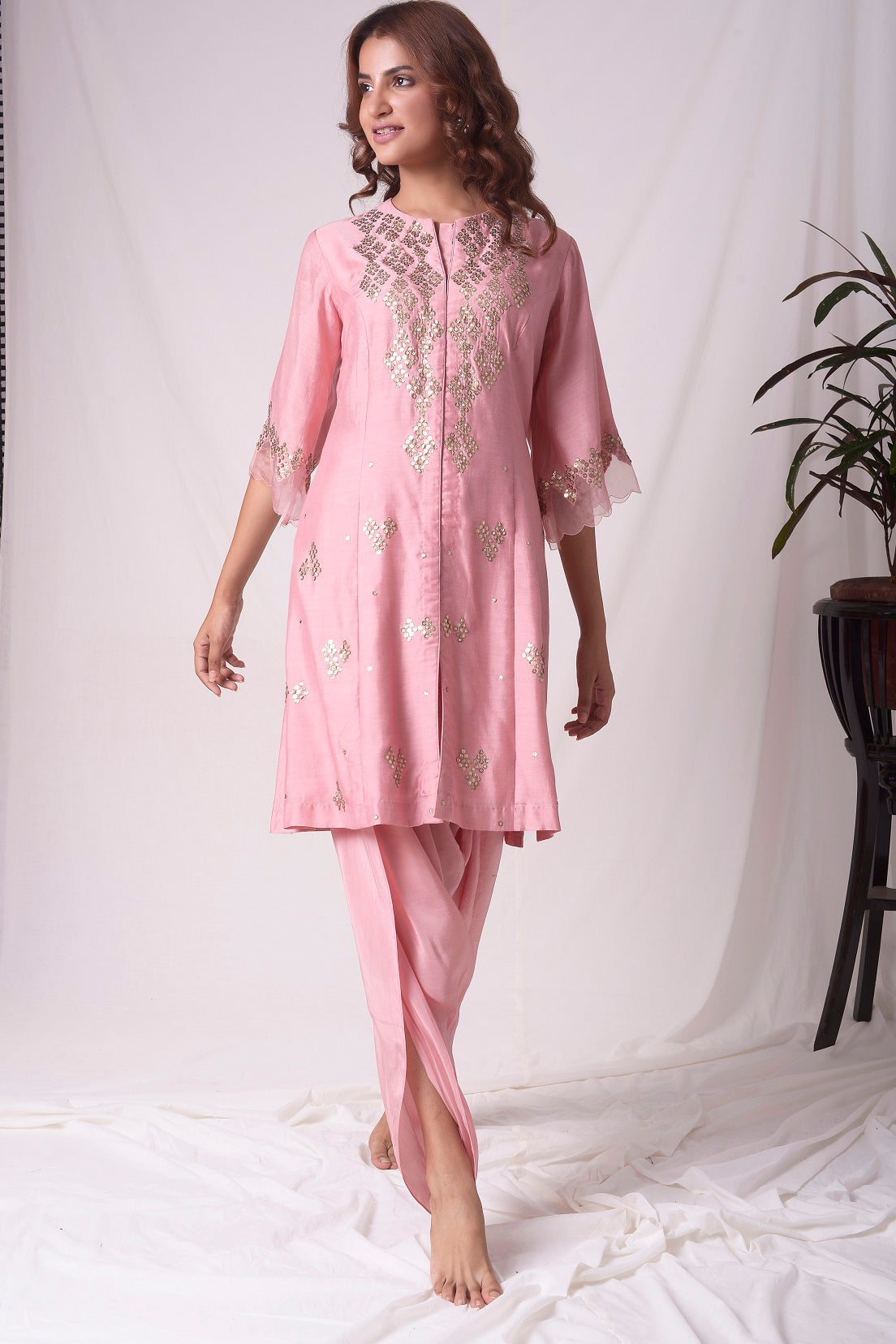 Dusty Pink Chanderi Suit With Dhoti Online in USA-full view-2
