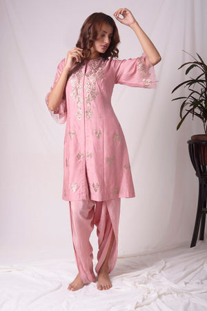 Dusty Pink Chanderi Suit With Dhoti Online in USA-full view-3