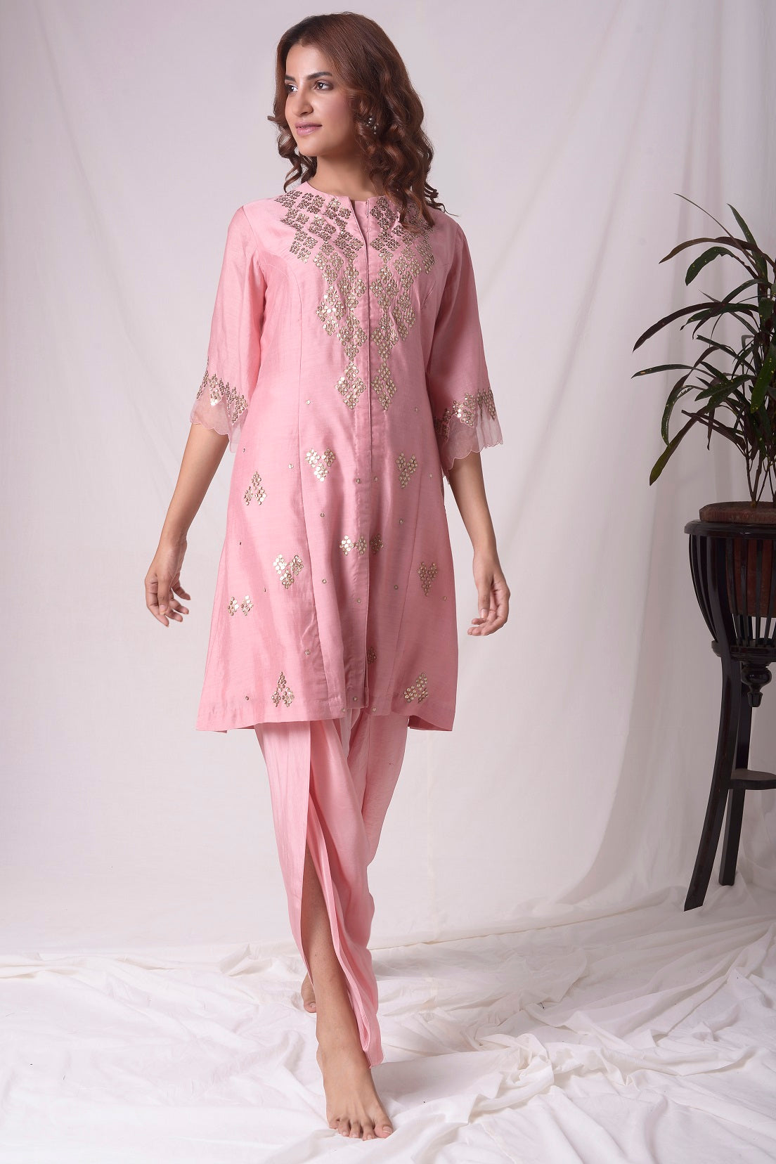 Dusty Pink Chanderi Suit With Dhoti Online in USA-full view-4