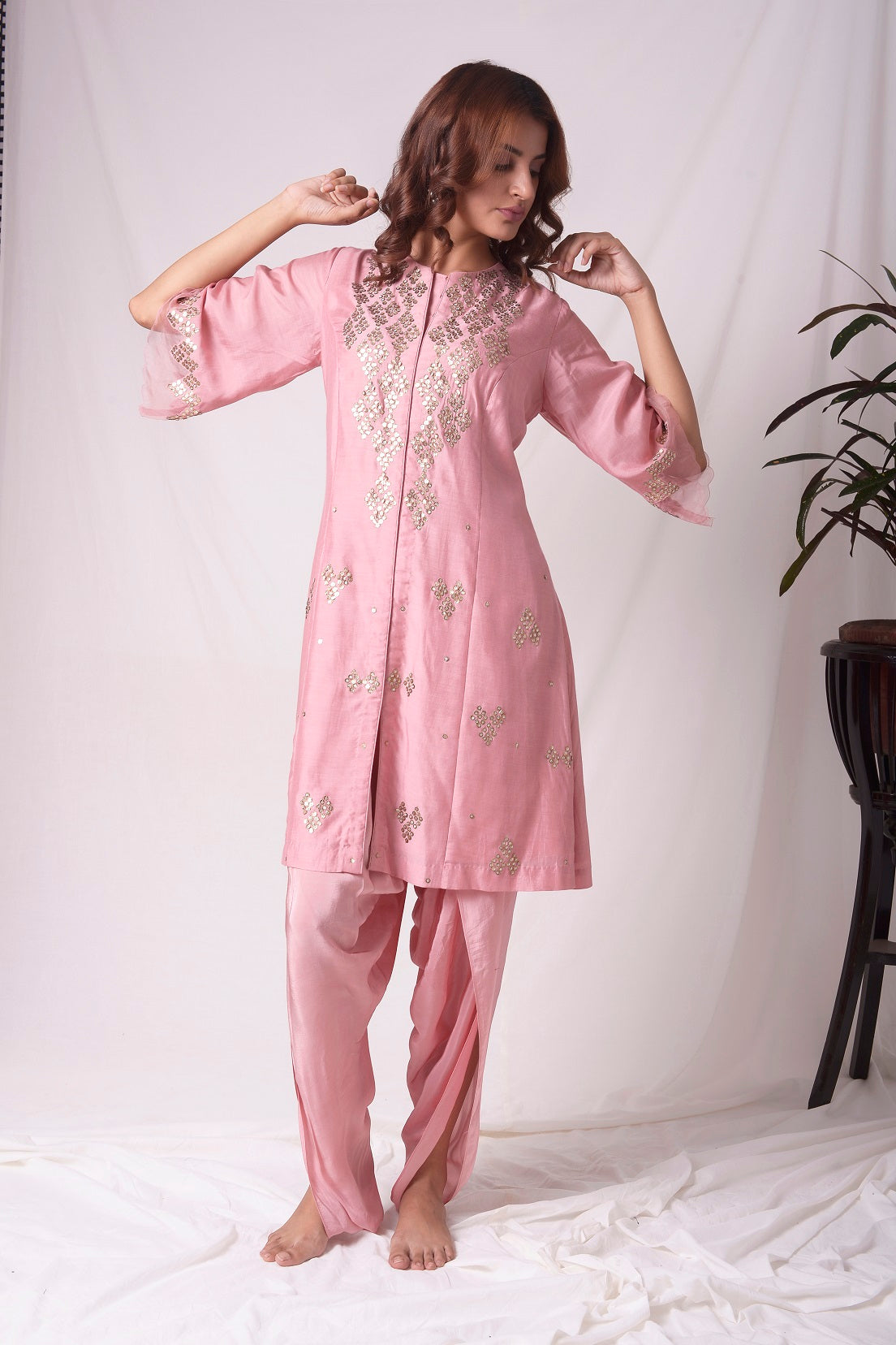 Dusty Pink Chanderi Suit With Dhoti Online in USA-full view-5