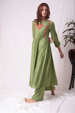 Green Cotton Silk Suit With Palazzo Online in USA-full view-2