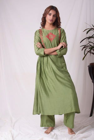 Green Cotton Silk Suit With Palazzo Online in USA-full view-3