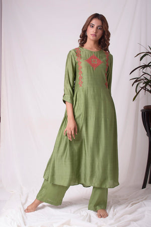 Green Cotton Silk Suit With Palazzo Online in USA-full view-4