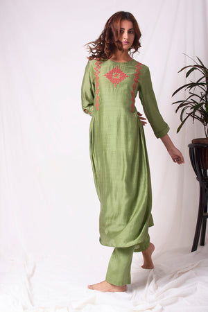 Green Cotton Silk Suit With Palazzo Online in USA-full view-5