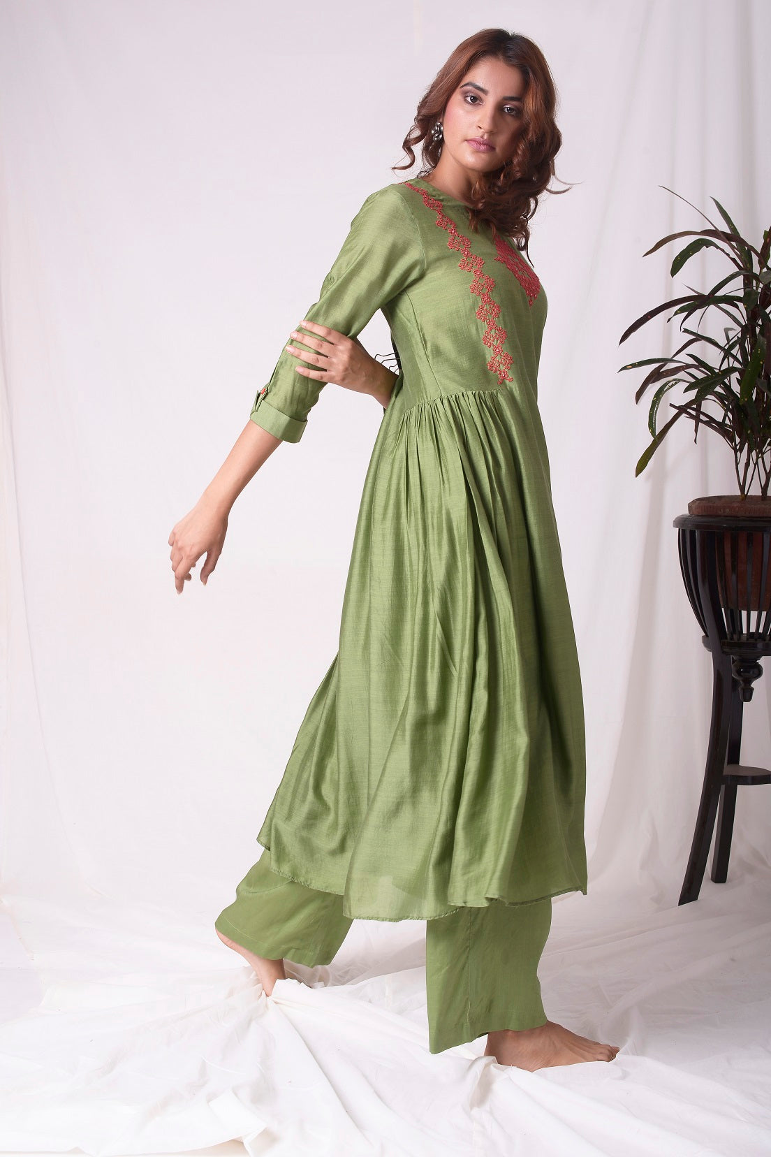 Green Cotton Silk Suit With Palazzo Online in USA-full view